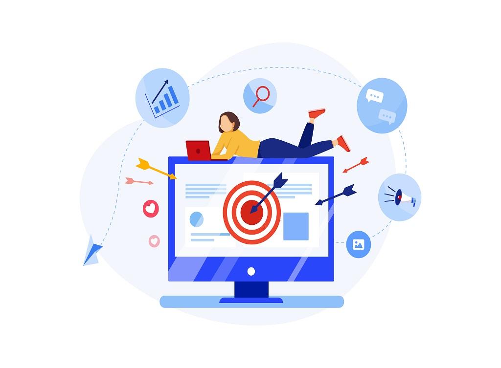 Ad,Targeting,Concept.,Online,Marketing,Vector,Illustration.