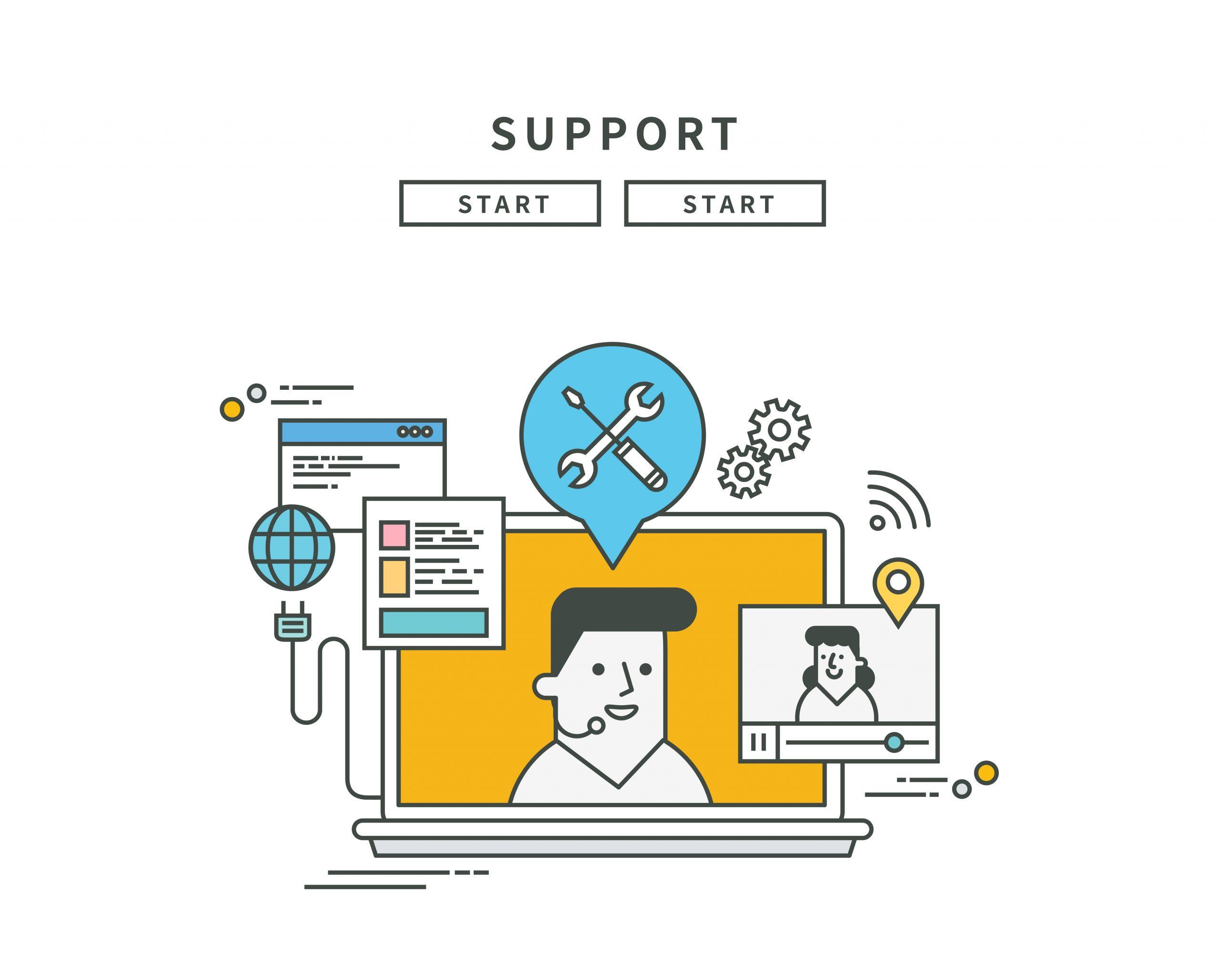 Simple,Line,Flat,Design,Of,Support,,Modern,Vector,Illustration