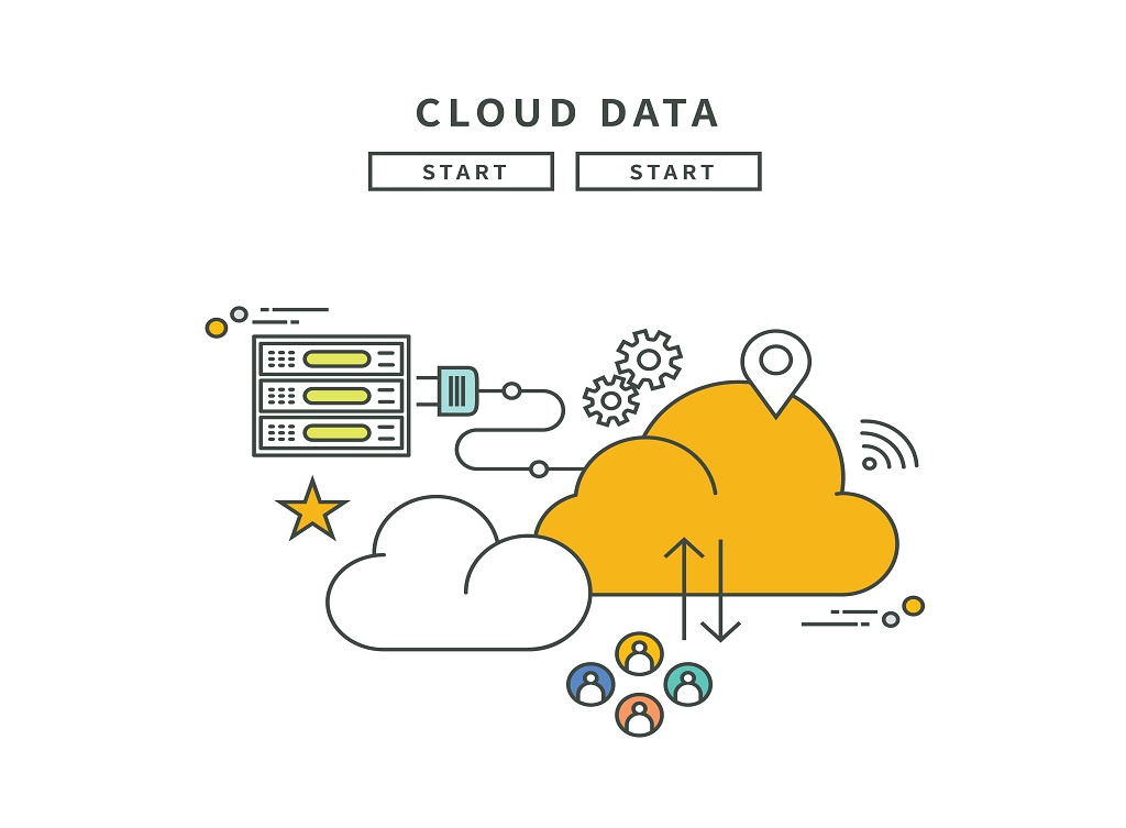 Simple,Line,Flat,Design,Of,Cloud,Data,,Modern,Vector,Illustration