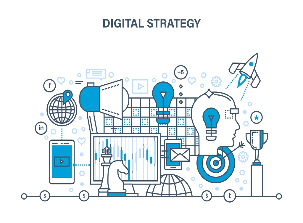 Digital,Strategy,Concept.,Digital,Marketing,,Media,Planning,,Online,Business,And